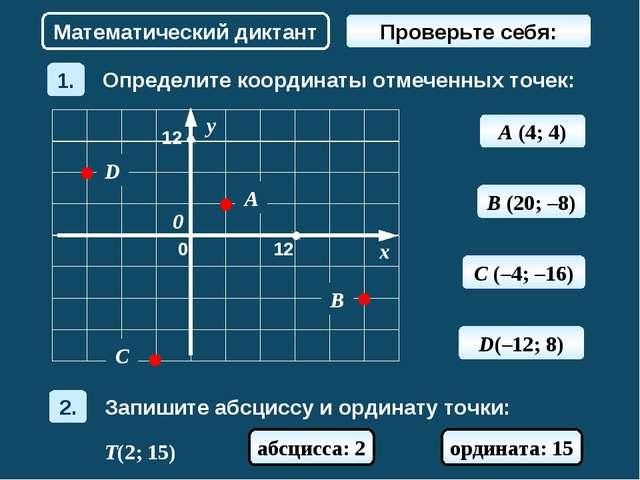 A (4; 4) Математический диктант B (20; –8) C (–4; –16) D(–12; 8) T(2; 15) абс...