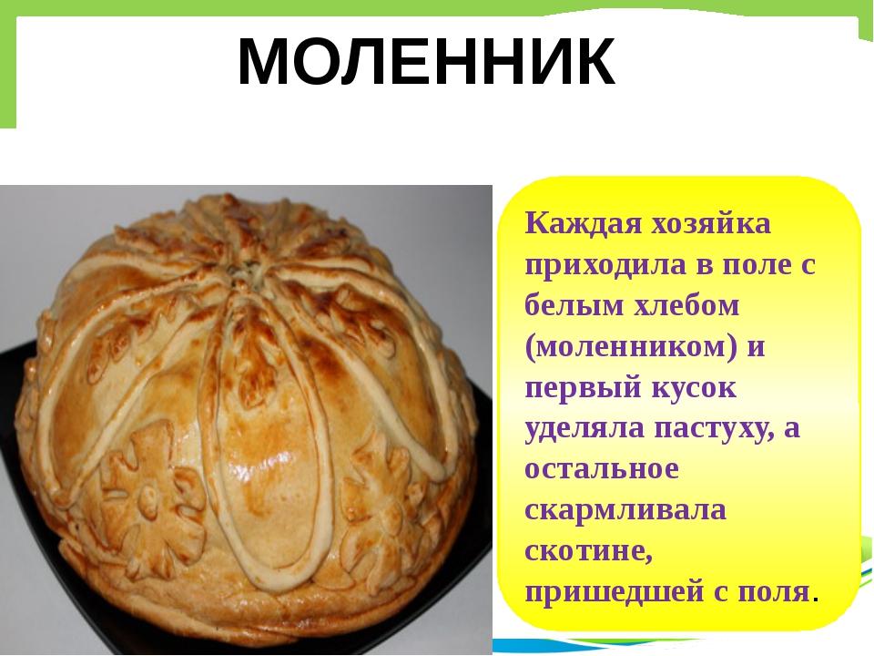 Каждая хозяйка приходила в поле с белым хлебом (моленником) и первый кусок уд...