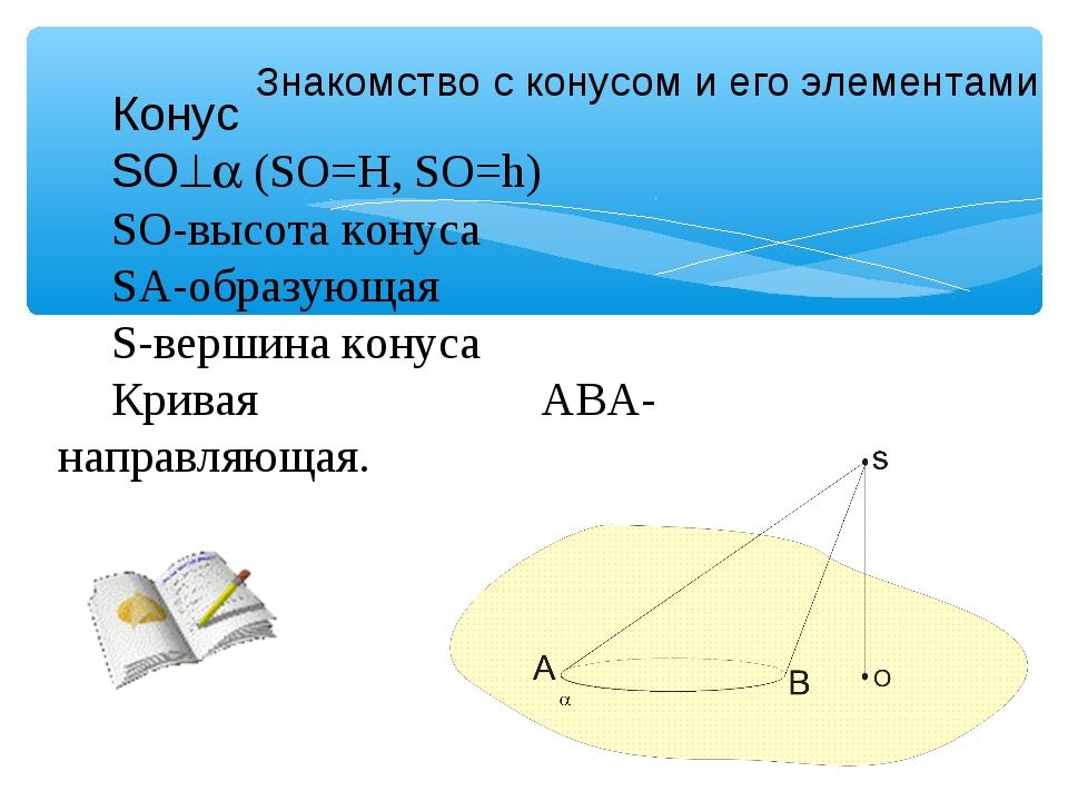 Знакомство с конусом и его элементами Конус SO (SO=Н, SO=h) SO-высота конус...