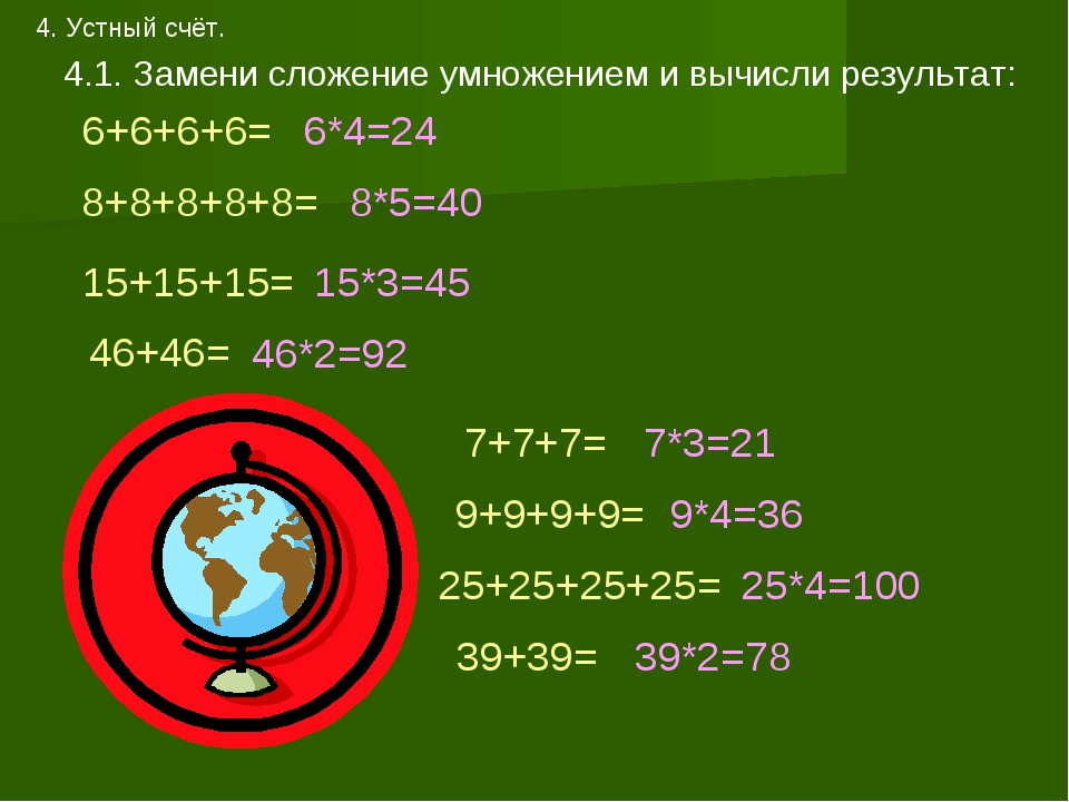 4. Устный счёт. 4.1. Замени сложение умножением и вычисли результат: 6+6+6+6=...