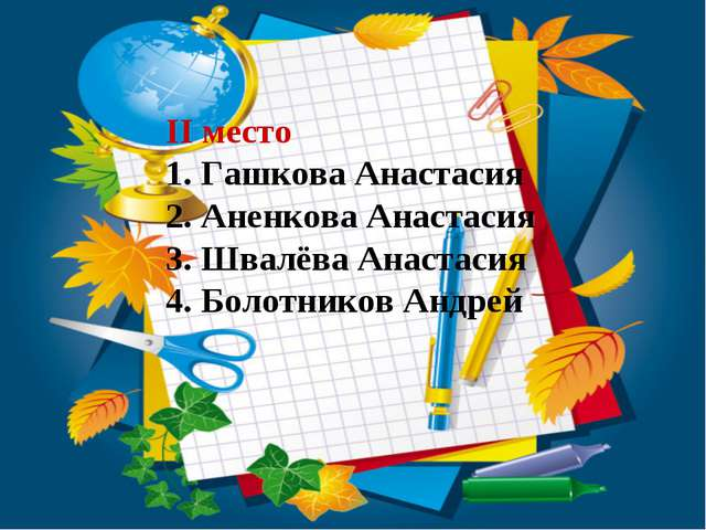 II место Гашкова Анастасия Аненкова Анастасия Швалёва Анастасия Болотников Ан...