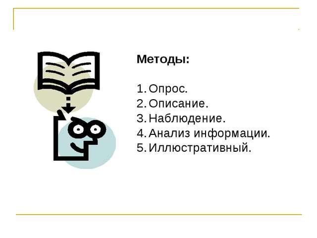 Методы: Опрос. Описание. Наблюдение. Анализ информации. Иллюстративный.