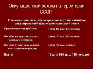 Оккупационный режим на территории СССР Итоговые данные о гибели гражданского