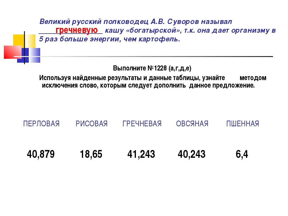 Великий русский полководец А.В. Суворов называл ________________ кашу «богаты...