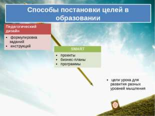 Способы постановки целей в образовании Педагогический дизайн формулировка зад