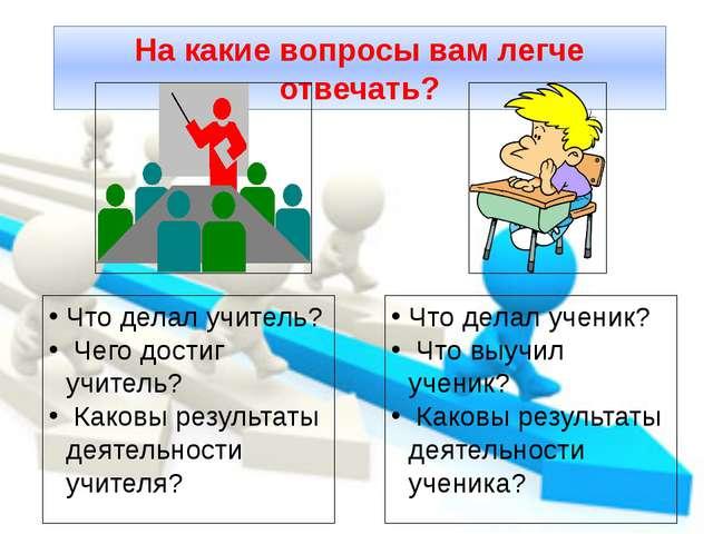 На какие вопросы вам легче отвечать? Что делал учитель? Чего достиг учитель?...