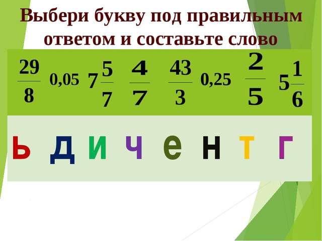 Выбери букву под правильным ответом и составьте слово  ьдичентг