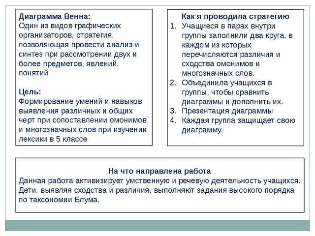 Диаграмма Венна: Один из видов графических организаторов, стратегия, позволяю...