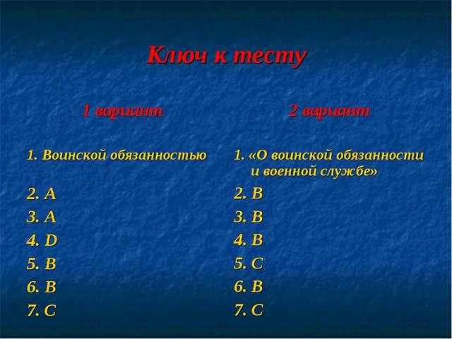 Ключ к тесту 1 вариант 1. Воинской обязанностью 2. A 3. А 4. D 5. B 6. В 7. С...