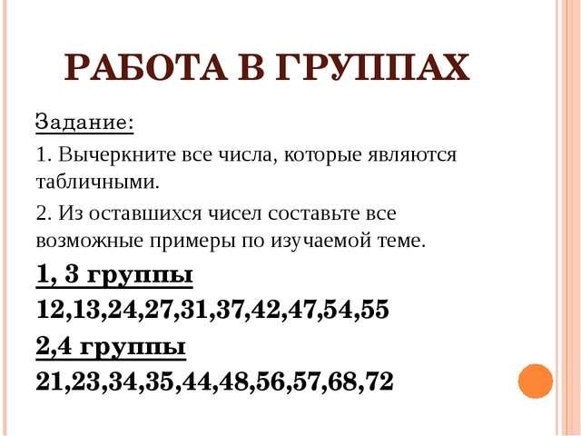 РАБОТА В ГРУППАХ Задание: 1. Вычеркните все числа, которые являются табличным...