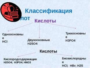 Классификация кислот Кислоты Одноосновные HCl Двухосновные H2SO4 Трехосновны