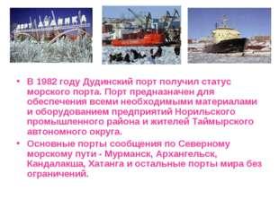 В 1982 году Дудинский порт получил статус морского порта. Порт предназначен