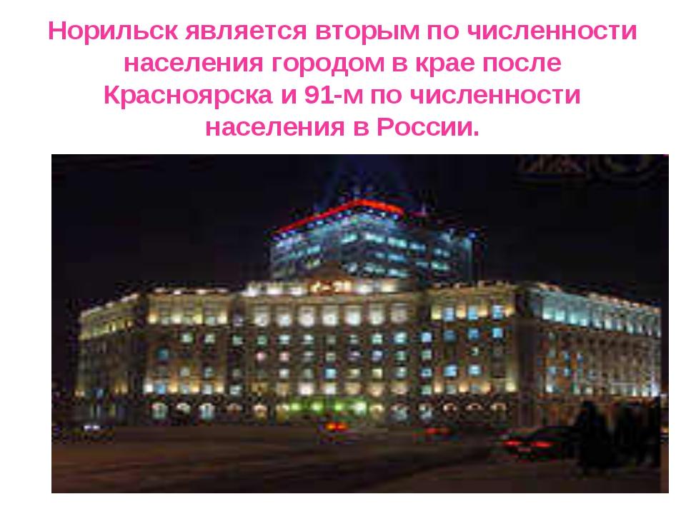 Норильск является вторым по численности населения городом в крае после Красно...