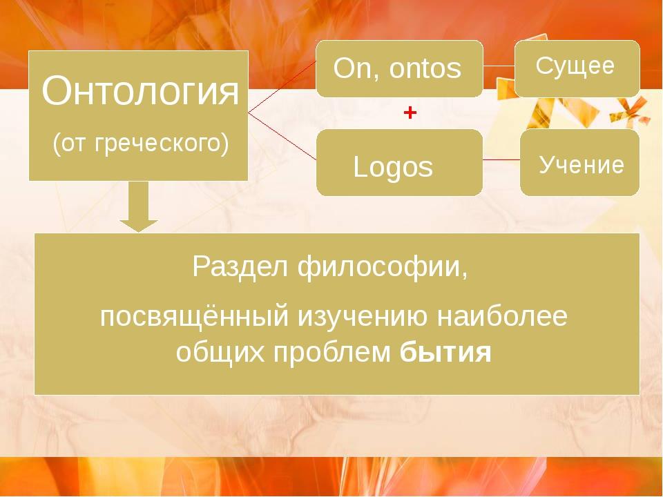 Онтология (от греческого) On, ontos Сущее Logos Учение + Раздел философии, п...