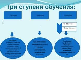 Три ступени обучения: 11 1 ступень 3 ступень 2 ступень Раскрытие индивидуальн