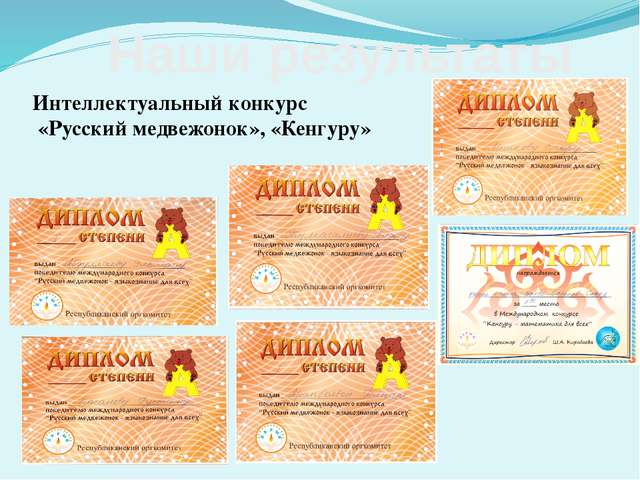 Интеллектуальный конкурс «Русский медвежонок», «Кенгуру» Наши результаты