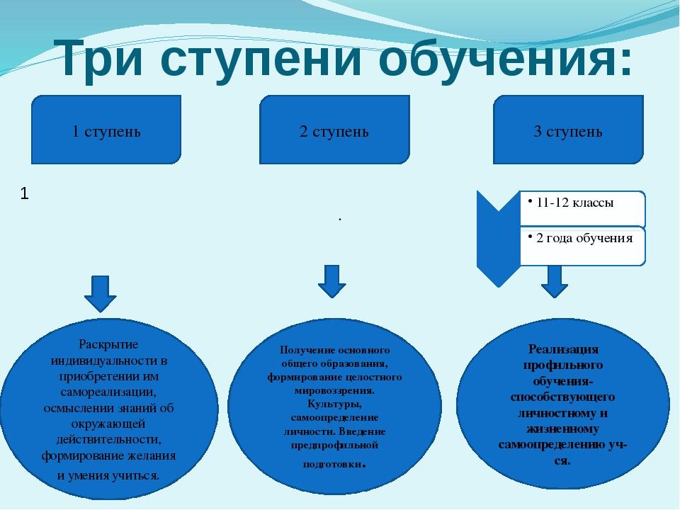Три ступени обучения: 11 1 ступень 3 ступень 2 ступень Раскрытие индивидуальн...