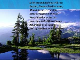 * Look around and you will see: Berries, flowers, bushes, trees, Mountains ar