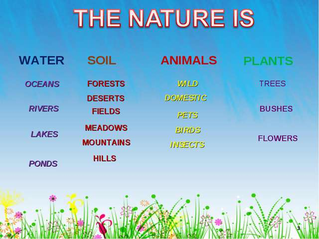 * WATER SOIL ANIMALS PLANTS OCEANS RIVERS LAKES PONDS FORESTS DESERTS FIELDS...