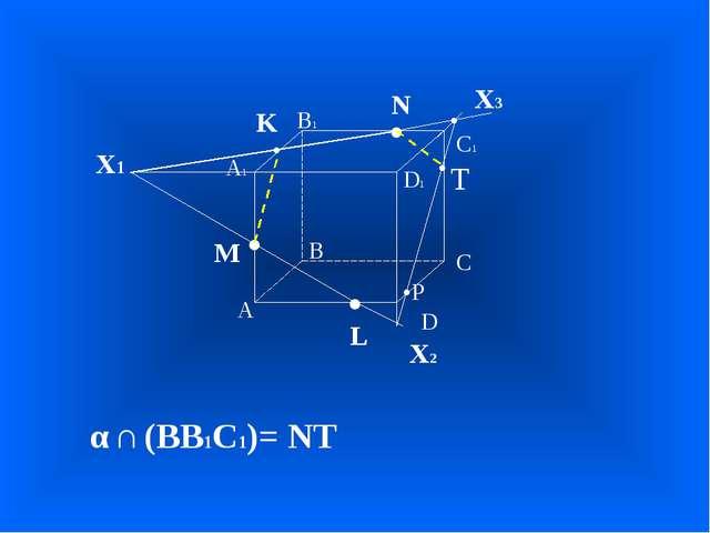 А В С D А1 D1 С1 В1 • • • M L N Х1 • K Х2 • Х3 α ∩ (BB1C1)= NT • T •P