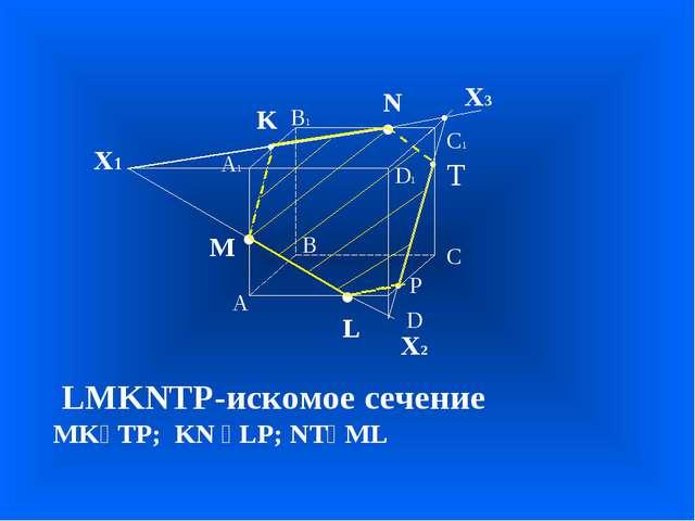 А В С D А1 D1 С1 В1 • • • M L N Х1 • K Х2 • Х3 LMKNTP-искомое сечение MKⅡTP;...