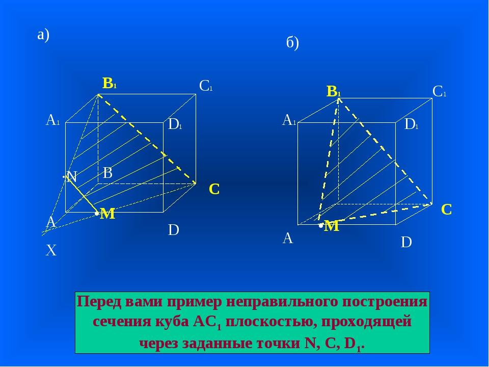 А В С D А1 D1 С1 В1 а) б) А А1 В1 С1 D D1 •M •M X ·N С Перед вами пример непр...