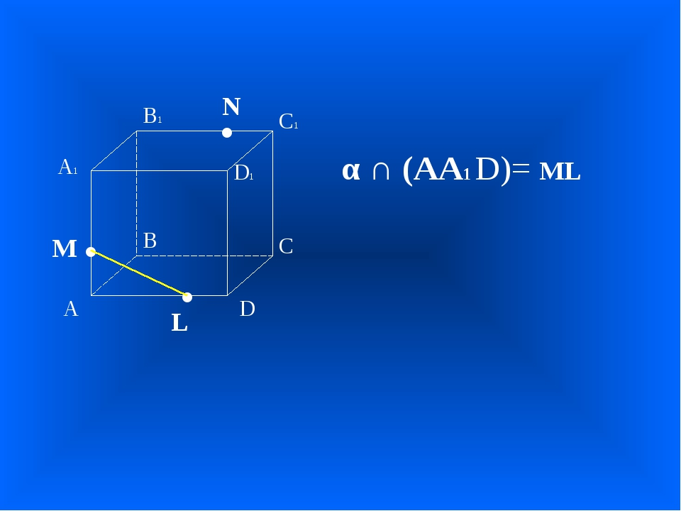 А В С D А1 D1 С1 В1 • • • M L N α ∩ (АА1 D)= ML
