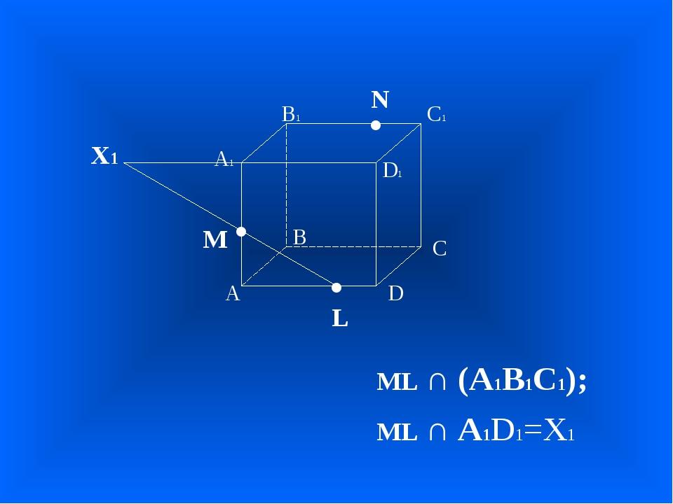 А В С D А1 D1 С1 В1 • • • M L N ML ∩ (А1В1С1); ML ∩ А1D1=Х1 Х1