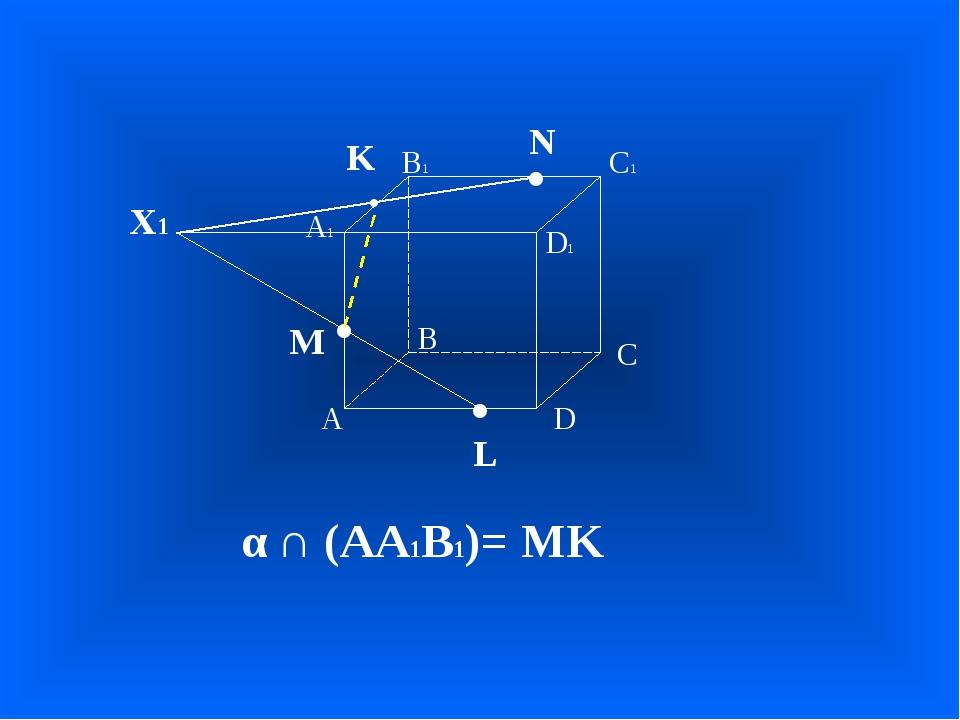 А В С D А1 D1 С1 В1 • • • M L N Х1 • K α ∩ (АА1В1)= MK