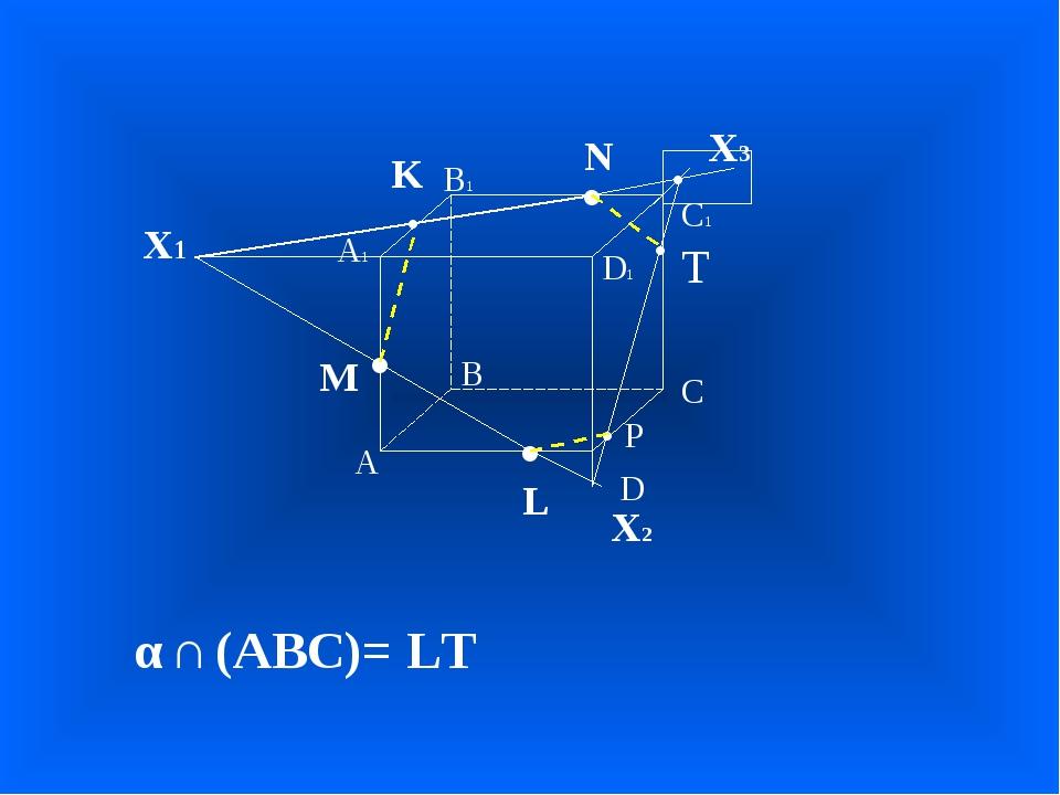 А В С D А1 D1 С1 В1 • • • M L N Х1 • K Х2 • Х3 α ∩ (ABC)= LT • T • P