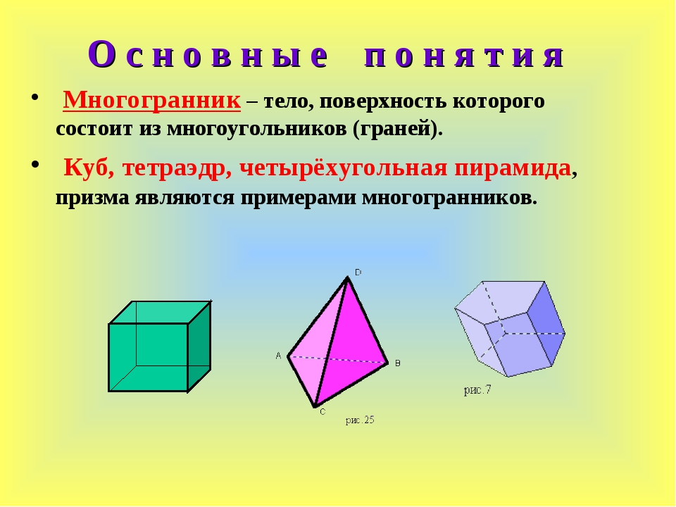 Многогранник – тело, поверхность которого состоит из многоугольников (граней...