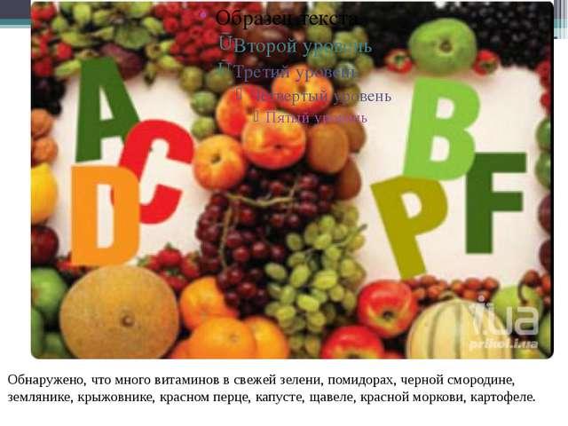 Обнаружено, что много витаминов в свежей зелени, помидорах, черной смородине,...