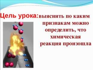 Цель урока: выяснить по каким признакам можно определить, что химическая реак