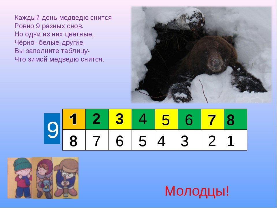 Каждый день медведю снится Ровно 9 разных снов. Но одни из них цветные, Чёрно...