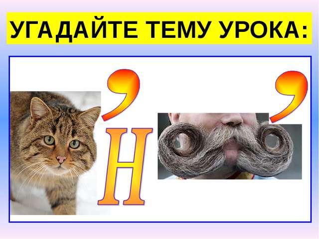 УГАДАЙТЕ ТЕМУ УРОКА: