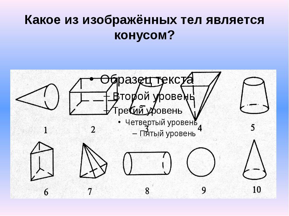 Какое из изображённых тел является конусом?