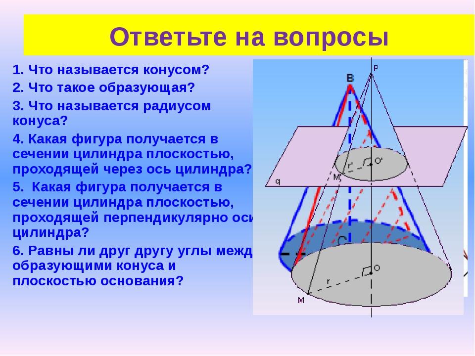 1. Что называется конусом? 2. Что такое образующая? 3. Что называется радиусо...