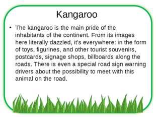 Kangaroo The kangaroo is the main pride of the inhabitants of the continent.