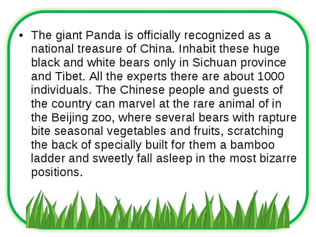 The giant Panda is officially recognized as a national treasure of China. Inh...