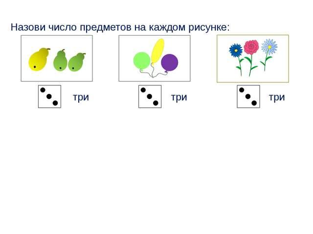Назови число предметов на каждом рисунке: три три три