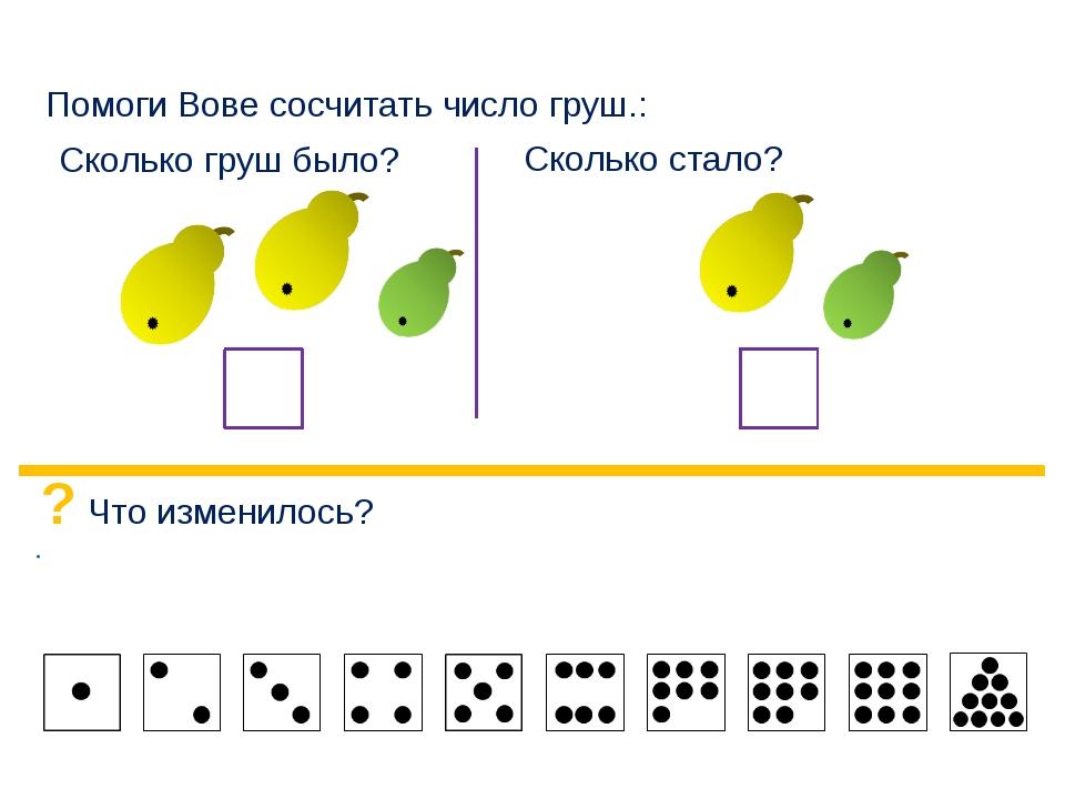 Помоги Вове сосчитать число груш.: Сколько груш было? Сколько стало? ? Что и...