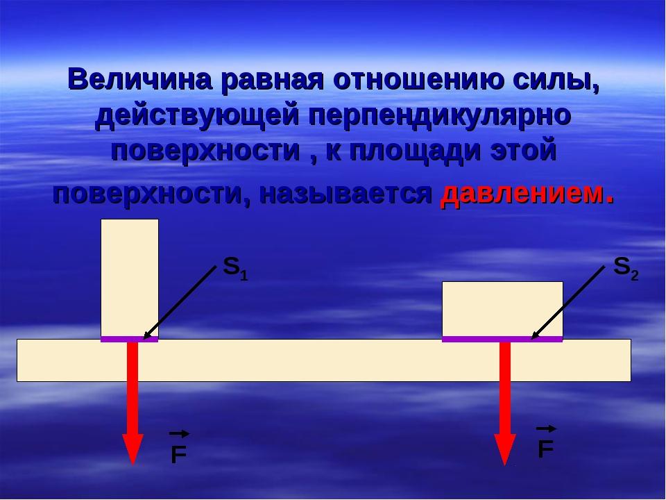 Величина равная отношению силы, действующей перпендикулярно поверхности , к п...