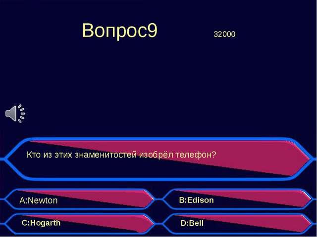 Вопрос9 32000 Кто из этих знаменитостей изобрёл телефон? A:Newton B:Edison...