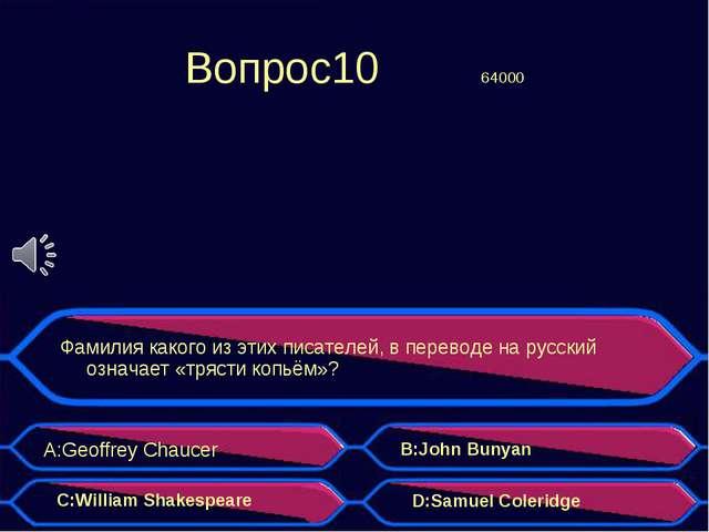 Вопрос10 64000 Фамилия какого из этих писателей, в переводе на русский озна...