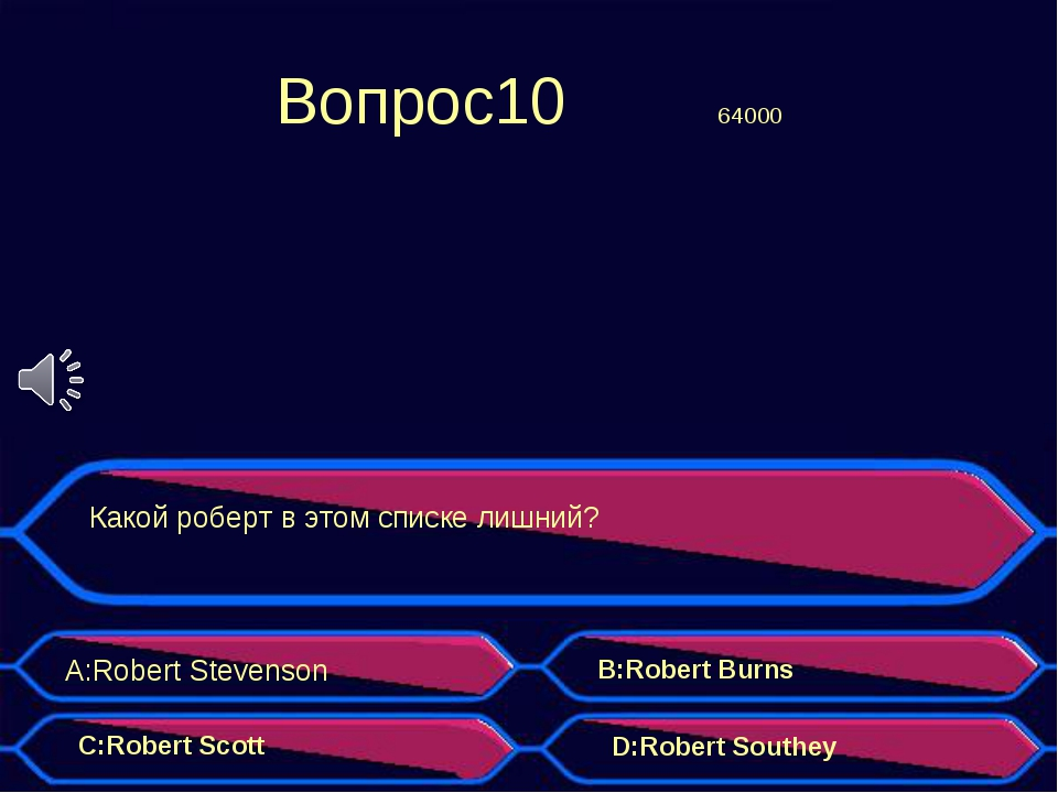 Вопрос10 64000 Какой роберт в этом списке лишний? A:Robert Stevenson B:Robe...