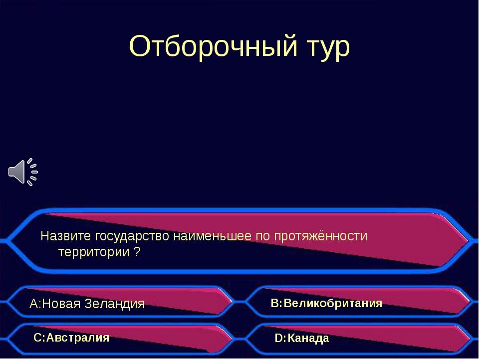 Отборочный тур Назвите государство наименьшее по протяжённости территории ? A...