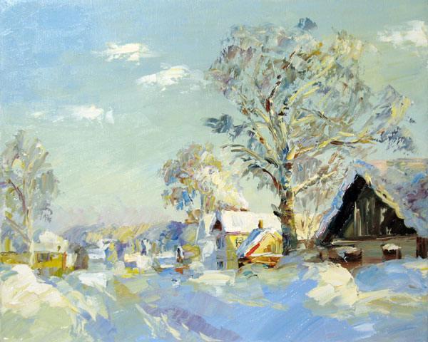 зима, деревня, солнце, природа, береза