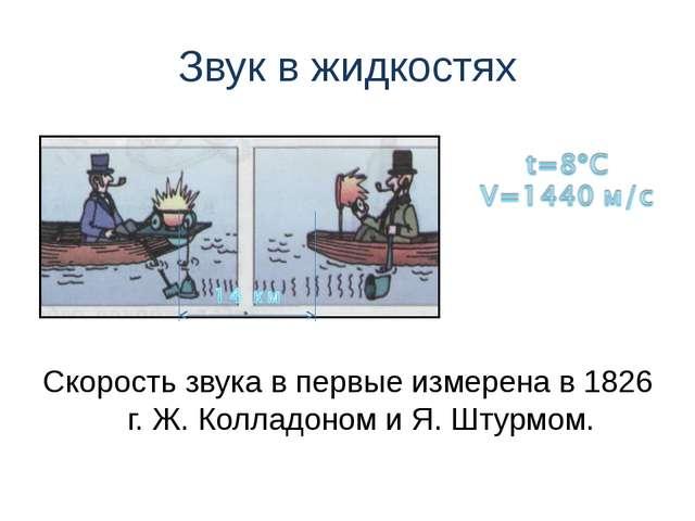Звук в жидкостях Скорость звука в первые измерена в 1826 г. Ж. Колладоном и Я...