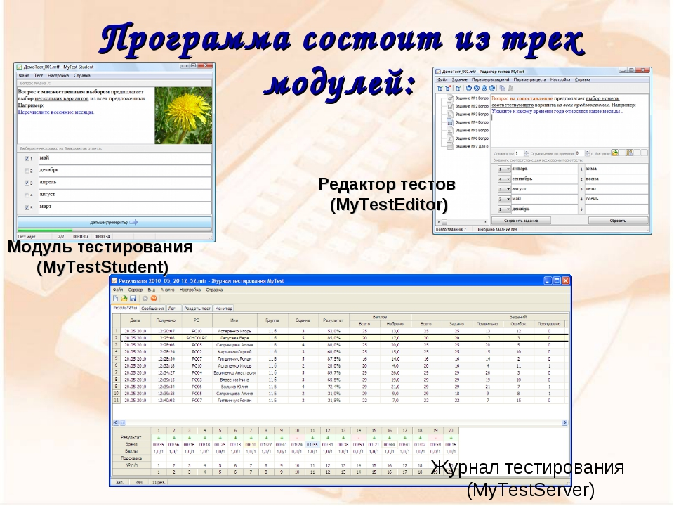 Программа состоит из трех модулей: Журнал тестирования (MyTestServer) Модуль...