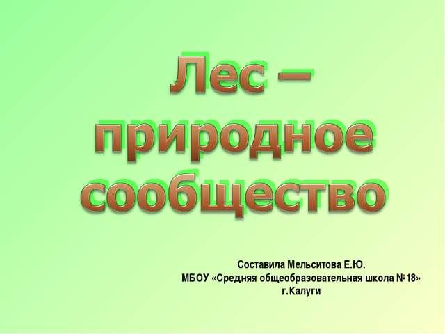 Составила Мельситова Е.Ю. МБОУ «Средняя общеобразовательная школа №18» г.Калуги